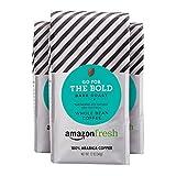 #5: AmazonFresh Go For The Bold, 100% Arabica Coffee, Dark Roast, Whole Bean, 12 Ounce, Pack of 3