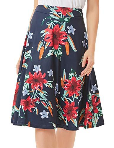 Women's Highwaist Flowing Swing A-Line Skirt Midi Length(S,Navy-Flower)