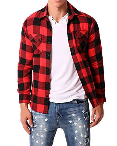 MODCHOK Men' Shirt Long Sleeve Outwear Plaid Flannel Slim Fit Button Down Check Tops Red&Black M