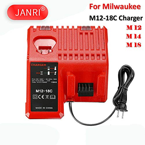 JANRI Replacement M12-18C Li-ion Battery 12V-18V Fast Charger for Milwaukee M12 M14 M18 48-59-1812 48-11-2420 48-11-2440 48-11-1820 48-11-1840 48-11-1850 48-11-2401 48-11-1890 -  JANRI®