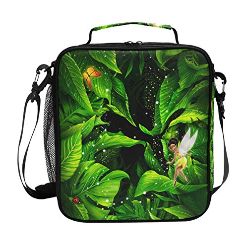 Brighter Fairy With Green Leaves Warm Pouch Lunch Bags Lunchbox Meal Picnic Handbags Travel Food Gourmet Bento Container Tote for Office School Work