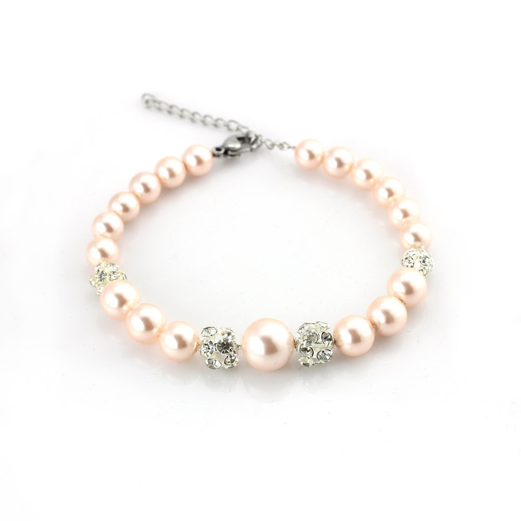 Balla Pink Pearls & Clusters of Rhinestones Bracelet, Freshwater Cultured Gifts for Women Girls Bridesmaids