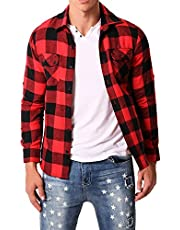MODCHOK Men' Shirt Long Sleeve Outwear Plaid Flannel Slim Fit Button Down Check Tops Red&Black 2XL