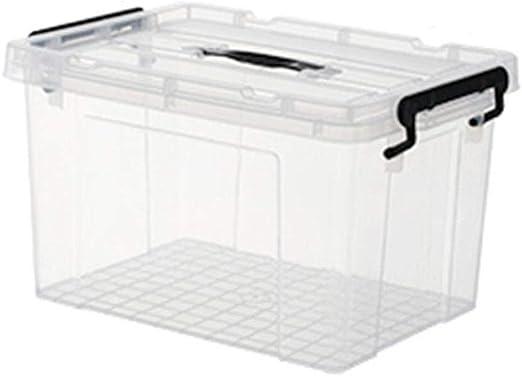 LIHAO Caja De Cajas Almacenaje Almacenamiento Acabado Transparente Extra Grande con Tapa Apilable Cierre Negro,04: Amazon.es: Hogar