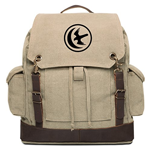 Game of Thrones House Arryn Sigil Rucksack Backpack with Leather Straps, Khaki by Grab A Smile