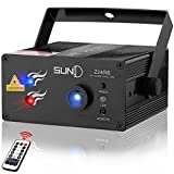 SUNY Laser Lights DJ Music Laser Projector 24 Combinations Patterns Red Blue Laser Light Blue LED Sound Active Remote Control Stage Lighting for Party Home Decoration Carnival Holiday Dance Bar Show