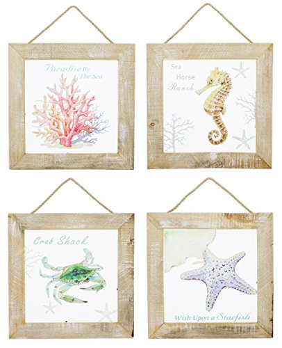Distinctive Designs Set of 4 Painted Glass Pane Wood Framed Wall Art Nautical Motif