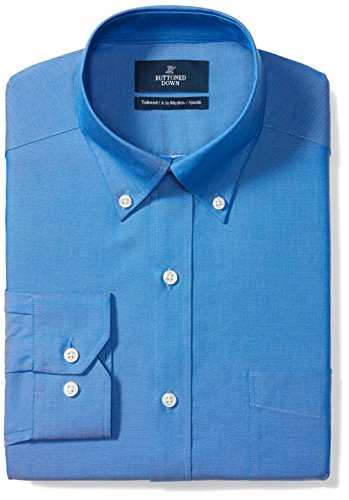 BUTTONED DOWN Men's Tailored Fit Button-Collar Solid Non-Iron Dress Shirt (Pocket), French Blue, 17