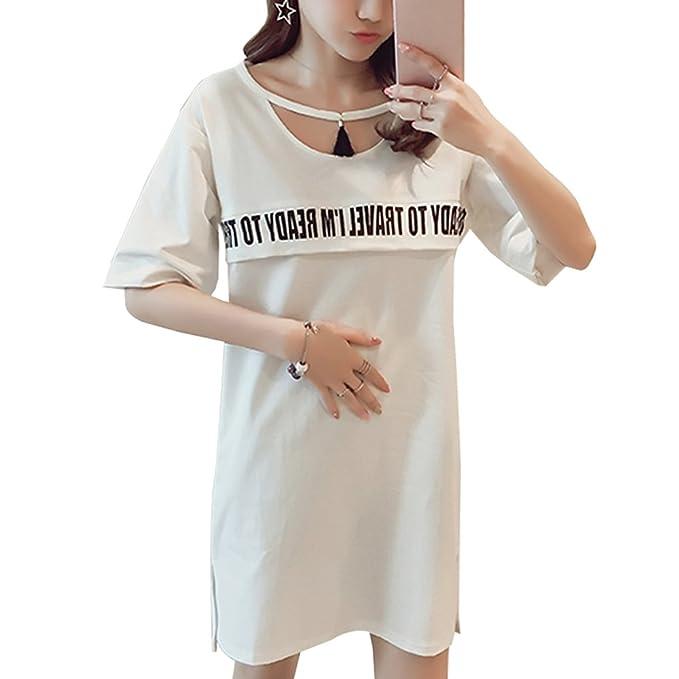 KINDOYO Vestido Lactancia de Mujer Embarazo - Moda Clásico Premamá Blusa Maternidad de Manga Corta Camiseta