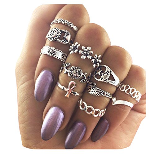 11PCS+Vintage+Knuckle+Ring+Set+Sun+Moon+Elephant+Fatima+Bohemian+Stack+Rings+Above+Knuckle+Rings+%28Silver%29+%28Silver%29