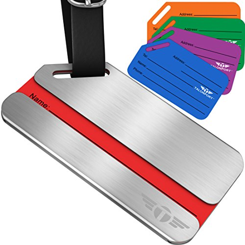 One Privacy Luggage Tags Stainless Steel Metal ID Bag Tag With Lifetime Never Lost Guarantee