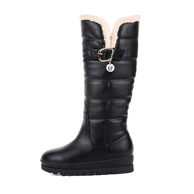 f79426351b6c QSCQ Womens Knee High Boots Fur Lined Fur Leather Buckle Fashion Platform Winter  Warm Snow Boots