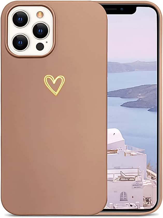 Ownest Compatible with iPhone 12 Pro Max Case for Soft Liquid Silicone Gold Heart Pattern Slim Protective Shockproof Case for Women Girls for iPhone 12 Pro Max-Brown