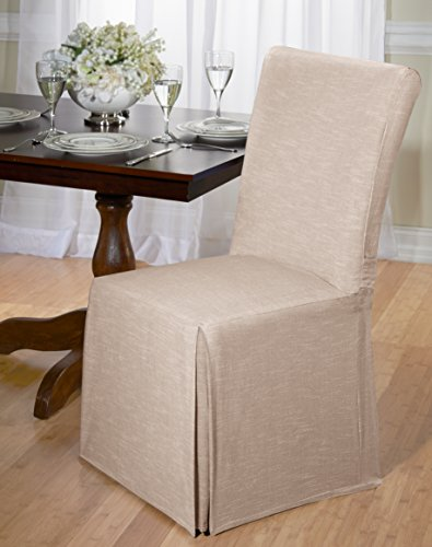 Luxurious Dining Chair Slipcover, Chambray, Basket Weave, Beige, Blue, and Red (Beige)