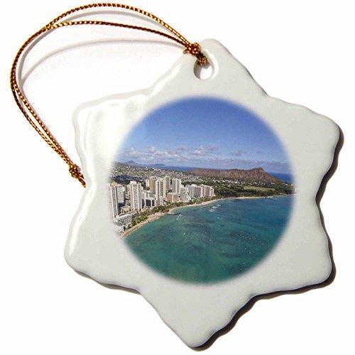 3dRose orn_89798_1 Waikiki, Honolulu, Oahu, Hawaii - US12 DPB2313 - Douglas Peebles - Snowflake Ornament, Porcelain, 3-Inch by 3dRose