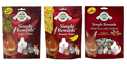 Simple Rewards Small Animal Treats 3 Flavor Variety Bundle (1) Each: Baked Cranberry, Freeze Dried Bananas, Baked Veggie, 1-2 Ounces
