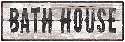 BATH HOUSE Ship Lap Look Distressed Metal Sign 6x18 Country Wall Décor .025 Thick Gloss (Bath House Sign)