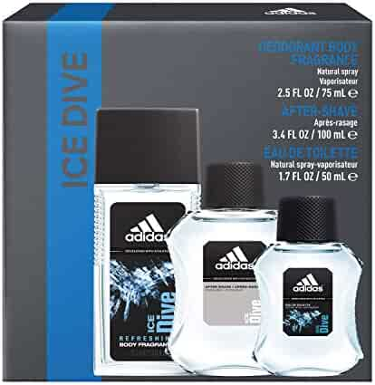 Adidas Fragrance Ice Dive 3-Piece Gift Set With 1.7-Ounce Eau De Toilette, 3.4-Ounce Aftershave, And 2.5-Ounce Deodorant Natural Spray, 1.601 Pounds