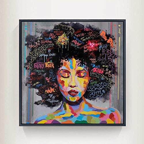 - Running Pet Graffiti Street Wall Art African American Black Art Canvas Wall Art, Original Designed Pop Graffiti Style Canvas Painting on Print (20 x 20 inch)