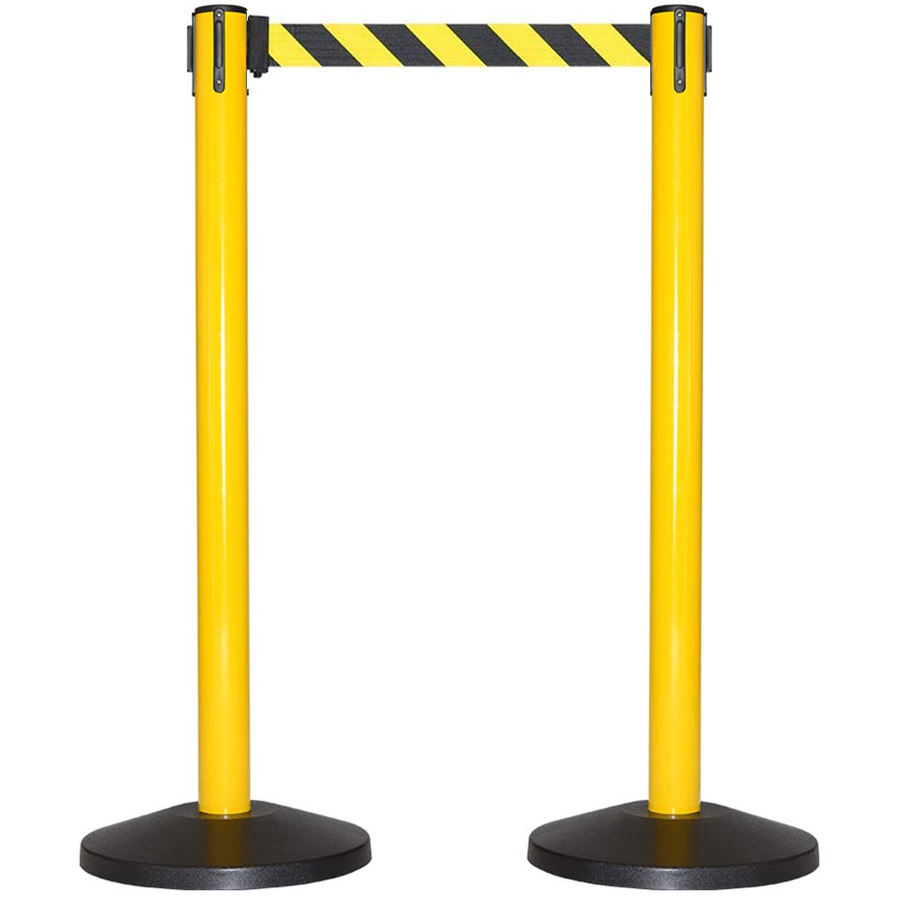 CCW Series RBB-100 Safety Stanchion Retractable Belt Barrier With 10 Foot Belt - Steel Construction With Yellow Post and Black and Yellow Diagonal Safety Belt, Requires No Tools To Assemble (Set Of 2)