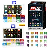 GBAuto Blade Car Fuses Assortment Kit 230PCS -Standard & Mini (2A/3A/5A/7.5A/10A/15A/20A/25A/30A/35A) ATO/APR / ATC Fuse Car Kit Assorted Auto Truck Boat Truck SUV Automotive Replacement Fuses Puller