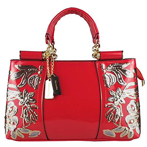 Nevenka Women Patent Leather Fashion Handbags (Red)