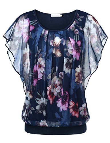 (BaiShengGT Women's Printed Flouncing Flared Short Sleeve Mesh Blouse Top X-Large Blue #2)