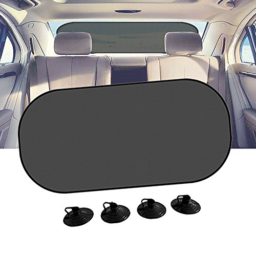 "Car Sun Shade, IC ICLOVER UV Protection Folding Auto Rear Window Sunshade, 39""x20"" Universal Mesh Back Window Visor with Suction Cup for Children Kids Baby Pet Fit SUV"