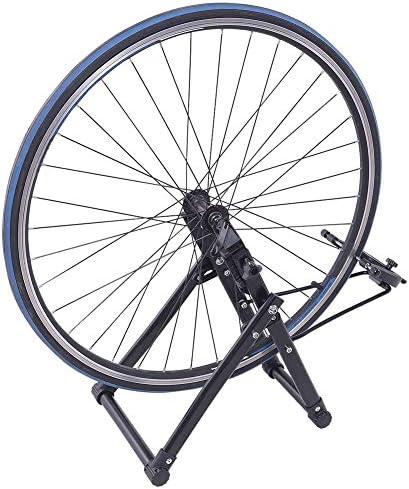 Febelle Soporte para Alineación de Ruedas para Bicicletas Caballete de Ruedas Reparador de Neumáticos Pie de Centrado Ajuste de Mecánicos para el Hogar Plegable se Adapta a Ruedas de 16