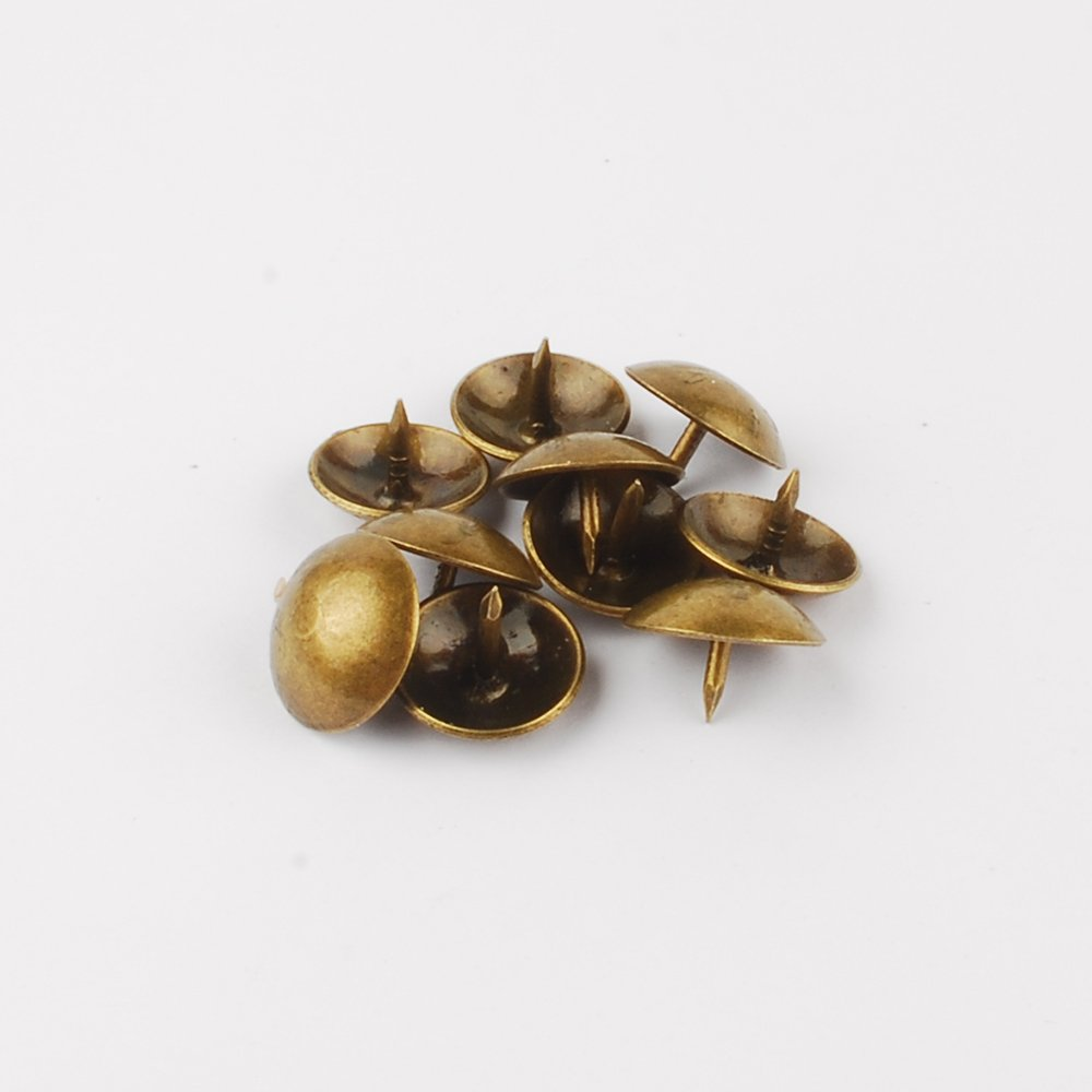 NW 100pcs Bronze Upholstery Tacks Antique Brass Furniture Nails Pins (14x10mm)