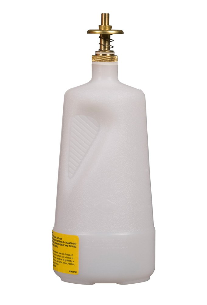 Justrite 14012 Polyethylene Nonmetallic Dispensing Safety Can, 1L Capacity, Translucent