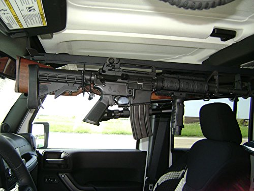 2007-2016 Jeep Wrangler JK JKU Overhead Gun Rack 2 Gun Holder by Black Mountain