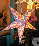 T O K G O - Nepal Hollow Out Style Handmade Colorful Paper Star Lamp Paper Star Lantern Light for Home Decor Mall Decor Bar Decor Christmas Decor Christmas Supplies (Christmas Paper Lantern)