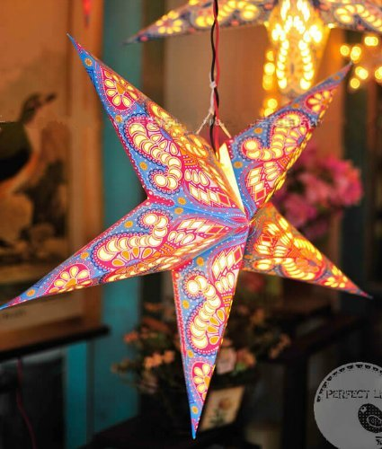 T O K G O – Nepal Hollow Out Style Handmade Colorful Paper Star Lamp Paper Star Lantern Light for Home Decor Mall Decor Bar Decor Christmas Decor Chri…