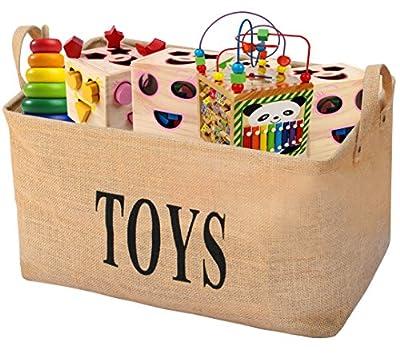 "Gimars XL 20"" Jute Storage Basket Bin Chest Organizer - Perfect for Organizing Toy Storage, Baby Toys, Kids Toys, Dog Toys, Baby Clothing, Children Books, Gift Baskets"