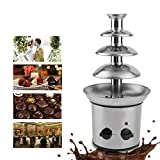 4 Tiers Chocolate Fondue Fountain Machine Chocolate fountain Waterfall Commercial Stainless Steel Event Wedding Children Birthday Home US Plug