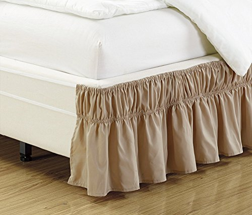 Mk Collection Wrap Around Style Easy Fit Elastic Bed Ruffles Bed-Skirt Queen-King Solid Taupe New