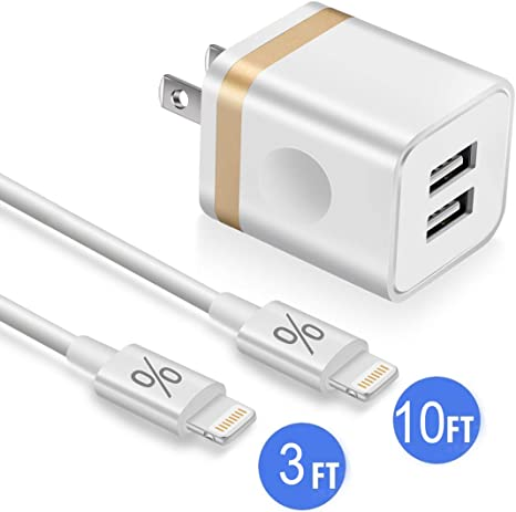 DECIPA Dual USB Wall Charger Adapter Block Cube with Charging Cord Replacement for iPhone Xs//Xs Max//XR//X 8//7//6//6S Plus SE//5S//5C Pod Pack of 4 Pad Phone Charger 10ft Cable with Wall Plug