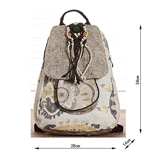 Escorpión 34 Tamaño Té Bolsa Cm Flecos Teñida De Y 14 Lino Bolso Viaje 28 Con Estampado 5RxqWw56F