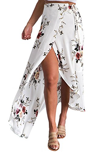 (Yonala Womens Boho Floral Tie Up Waist Summer Beach Wrap Cover Up Maxi)