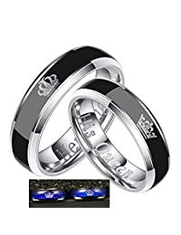 YOZOOE Eternity Rings Wedding Couple Mood Discoloration Rings Simple Creative Titanium Stainless Steel Ring 1 Pcs