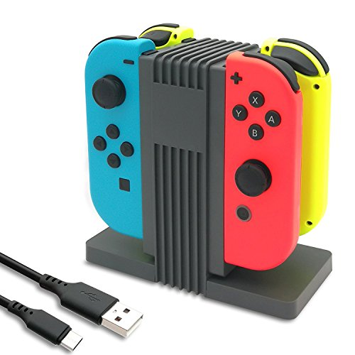 (FastSnail Charging Dock for Nintendo Switch Joy-Con with LED Indication, Charger Stand Station for Switch Joy Cons with Type C Cable)