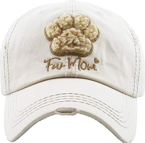 H-212-FUR60 - Distressed Baseball Cap Vintage Dad Hat - Fur Mom (Beige)