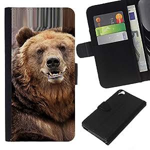 KingStore / Leather Etui en cuir / HTC Desire 820 / Oso lindo Furry Animal Naturaleza Bestia