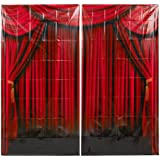 Fun Express Red Curtain Backdrop Banner Decoration (2 Piece)