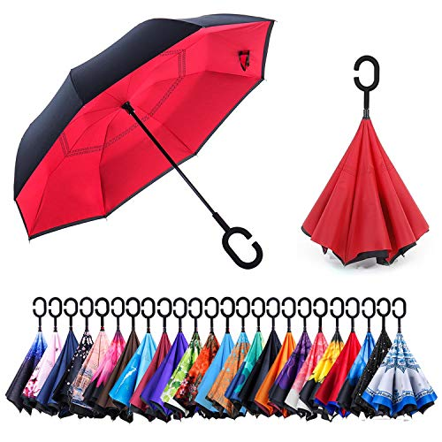 Newsight Reverse/Inverted Double-Layer Waterproof Straight Umbrella, Self-Standing & C-Shape Handle & Carrying Bag for Free Hands, Inside-Out Folding for Car Use (Red Idea) ()