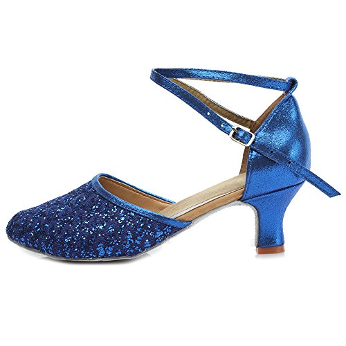 Moderne Hroyl De Samba Leather Chacha 6 Bleu Ballroom Femmes Chaussures Latin Danse mf1802 Model 5cm XgrXw