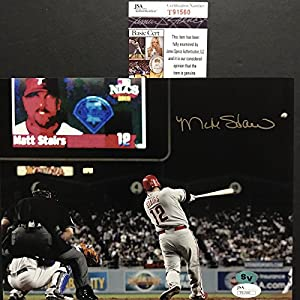 Autographed/Signed Matt Stairs Moon Shot Philadelphia Phillies 8x10 Baseball Photo JSA COA