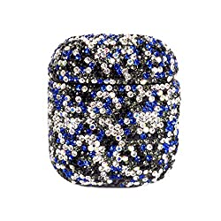 Blue & Silver Rhinestone AirPods Case With Keychain