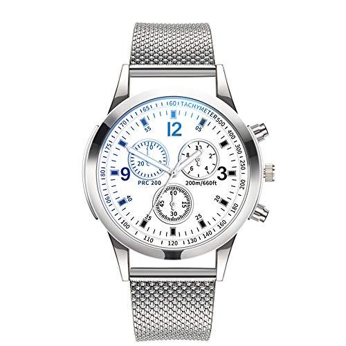 Stainless Bracelet Cuff Steel Sand (Men's Watch, 40mm Sand Blasted Stainless Steel Round case, Men's Quartz Dial Casual Cuff Watch)